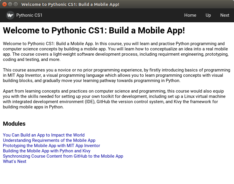 Building the Mobile Learning App in Python and Kivy
